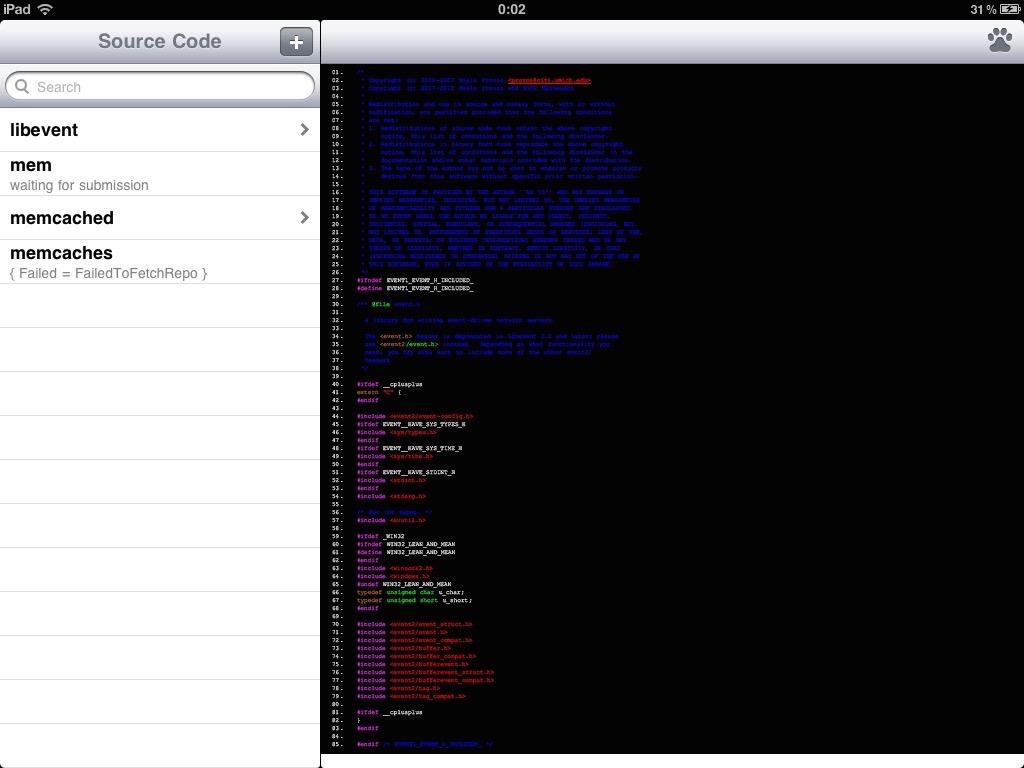 12年末我在学Memcached和Libevent,还在iPad上下载一个APP来阅读代码