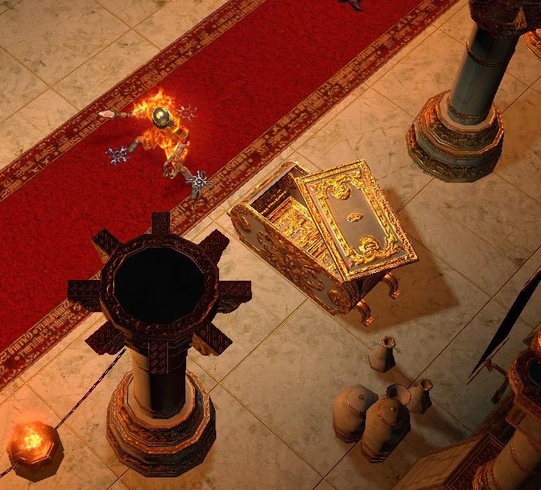 日曜神殿一层发现超精美的黄金箱子一只